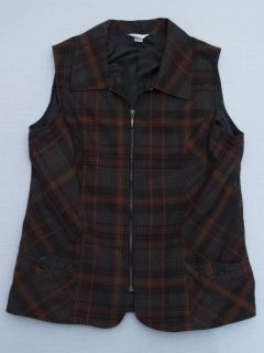 Womens Christopher & Banks Brown Orange Fall Plaid Vest Size L Large