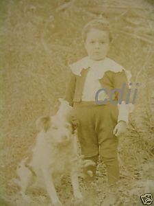 Boy w Dog Chester Vermont VT Cabinet Card Photograph