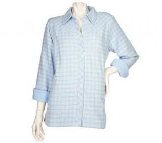 Denim & Co. Plaid Flannel Big Shirt with Fleece Lining —