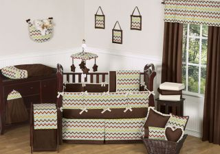 Chocolate Brown Ivory Zig Zag Geometric Baby Boy Bedding Crib Set Made