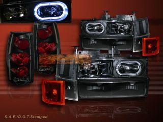 1998 CHEVY FULL SIZE BLACK HEADLIGHTS HALO 10 PCS+TAIL LIGHTS DARK SMK