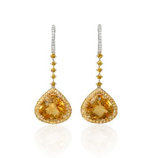 Tone Gold Diamond Yellow Sapphire and Citrine Dangle Earrings