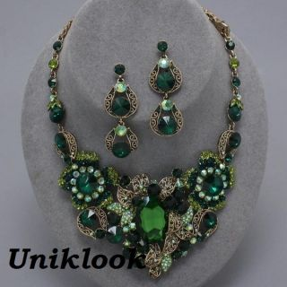 Gold Emerald Green Crystal Chunky Necklace Set Elegant Costume Jewelry