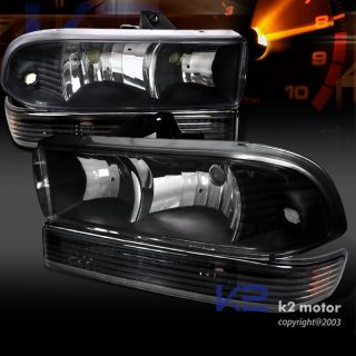 Euro Black 98 04 Chevy S10 Blazer Headlights Lamps Bumper Parking
