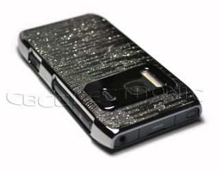 Black Silver PU Chrome Hard Case Skin Back Cover for Nokia N8