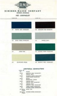 1951 Chevy Paint Color Sample Chips Card Colors
