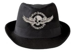 HARLEY DAVIDSON New MENS Black FEDORA HAT HD 437