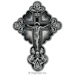 Jesus Christ Silver Cross Skull Tattoo Christian Biker Patch