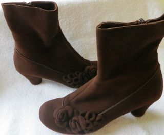 Chie Mihara Vintage Style Brown Suede Ankle Boot 39 5 or U s 9 to 9 5