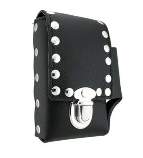 Studded Black Leather Cigarette Case with Belt Loop