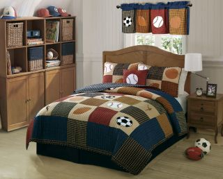 Kids Boys Classic All Sports Full Queen Quilt Shams Bedding Set New