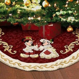 Mickey Minnie Victorian Holiday Christmas Tree Skirt & Ornaments NEW