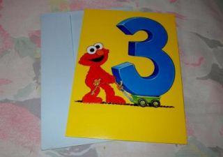 Vintage Elmo Birthday Card for Someone Turning 3 Beloved Sesame Street