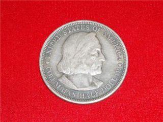 1893 Christopher Columbus 90% Silver Half Dollar Chicago Worlds Fair #
