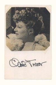 claire trevor hand signed autographed index card