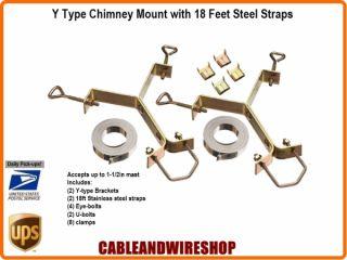 Chimney Mount Antenna Mast Bracket 18 Stainless Steel Straps