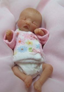 Sculpted Diaper Bag Baby Girl Polymer Clay Art Doll TINY Miniature