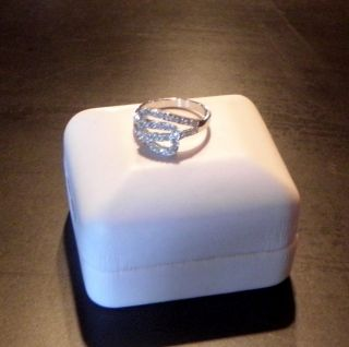 Womens 14K White Gold Over Solid Sterling Silver Ring 40 Diamonds Size