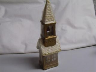 Vintage 60s Large Church w Bell Steeple Candle Gold Glitter Unused