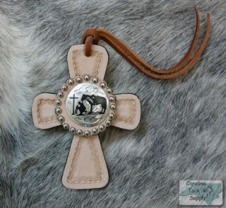 Light Leather Saddle Tie on Cross w Classic Praying Cowboy Concho New