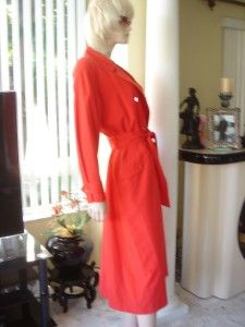 Claiborne Petite Collection Pocketed Red Light Trench Rain Coat 6 P