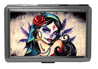Day of The Dead Girl Cool Metal ID Stash Holder Cigarette Case