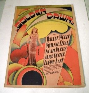 Golden Dawn Beautiful Art Deco Window Card 1930 Vitaphone