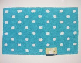 Turquoise Blue White Polka Dot Bath Rug 21x34 Cotton Reversible Mohawk