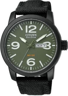 Citizen Eco Drive Military Black Plated Steel Canvas Strap Mens Watch