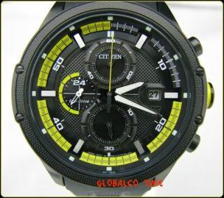 New Citizen Eco Drive Men Watch Chronograph Black Rubber Strap CA0125
