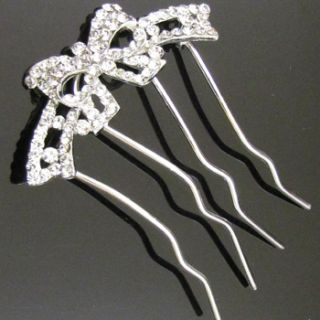 Shipping 1pc Austrian Rhinestone Crystal Bow Tie Hair Comb Fork