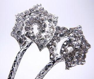 Silver Clear Flower Swarovski Crystal Hair Pin Stick Fork Bridal