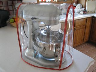 Clear Mixer Cover Fits KitchenAid 6 Qt w Red Trim