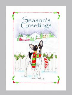 Rat Terrier Dog Christmas Cards Box of 16 Cards 16 White Envelops