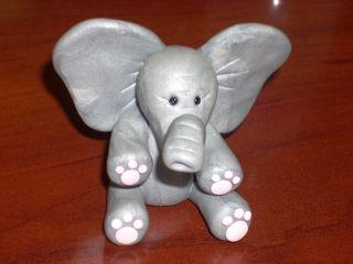 Handmade OOAK Polymer Clay Elephant Cute Grey Silver