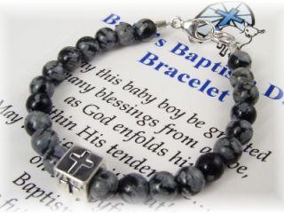 Baby Boy Baptism Christening Bracelet in Snowflake Obsi