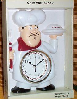 Fat Chef Waiter Wall Clock Bistro Kitchen Decorative