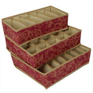 Page Pattern Storage Case Box Set Dark Red Closet Organizers