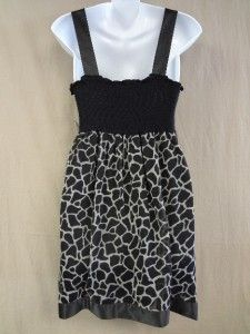 CHRISTINA Large NWT Black Gray Animal Giraffe Print Dress Womens NEW