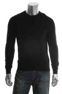 Club Room NEW Estate Black Cashmere Ribbed Trim Crew Neck Pullover