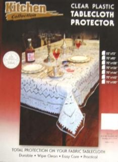 52x72 Heavy Duty Plastic Clear Table Cover Protector Durable Wipe