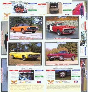 CLASSIC COLLECTOR CAR CARDS MUSCLECARS FORD CHEVY MOPAR MERCURY OLDS