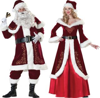 Couples Santa and Mrs Claus Christmas Costume Red Gown Professional