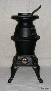 Montgomery Ward Cast Iron Pot Belly Wood Coal Stove Never Used