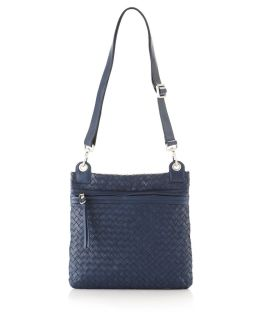 Christopher Kon Woven Leather Crossbody Bag Navy Blue
