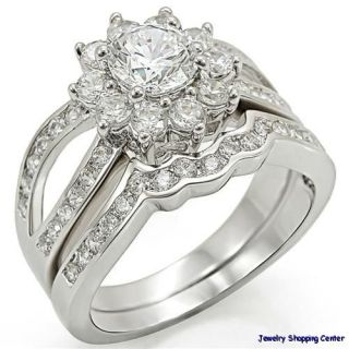 2CT CLUSTER ROUND BRILLIANT WEDDING ENGAGEMENT 2 PIECE RING SET SIZE 5