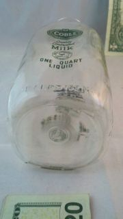 Super RARE Coble Dairy Quart Milk Bottle Green Color Lexington North