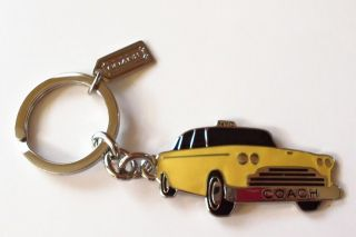 Coach NYC Classic New York City Yellow Enamel Taxi Cab Key Ring Chain