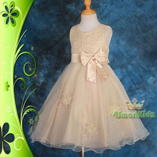 CLEARANCE Champagne Wedding Flower Girl Bridesmaid Party Dress Size 7
