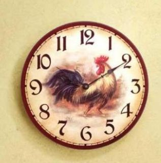 Rooster Country Kitchen Rustic Wood Wall Clock 13""